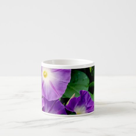 Morning Glory - Purple Flowers Green Leaves Espresso Cup