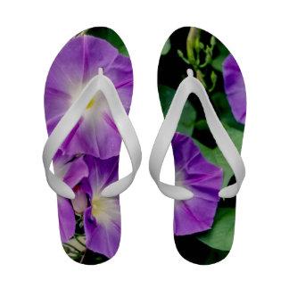 Morning Glory, Purple Flowers Green Leaves Flip-Flops