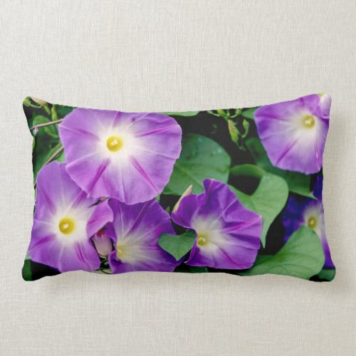 Morning Glory - Purple Flowers Green Leaves Lumbar Pillow