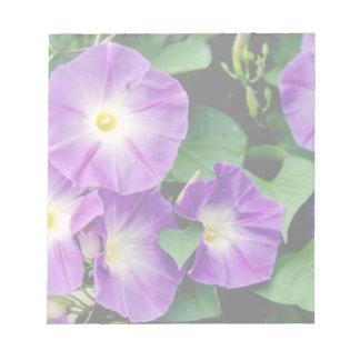 Morning Glory - Purple Flowers Green Leaves Notepad