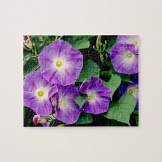 Morning Glory - Purple Flowers Green Leaves Puzzle