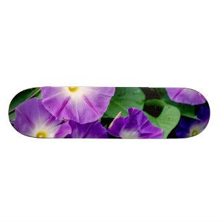 Morning Glory - Purple Flowers Green Leaves Skateboard