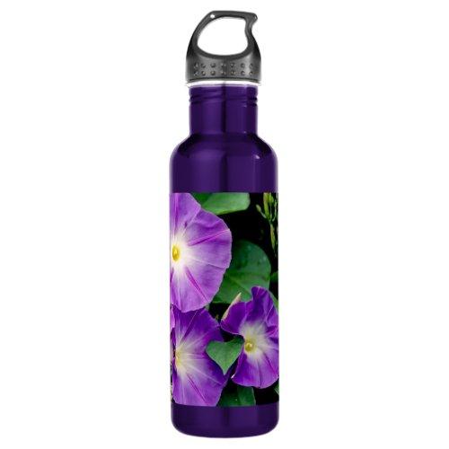 Morning Glory - Purple Flowers Green Leaves Stainless Steel Water Bottle