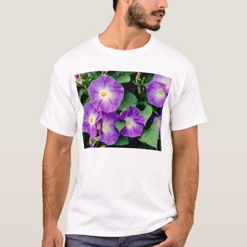 Morning Glory, Purple Flowers Green Leaves T-Shirt
