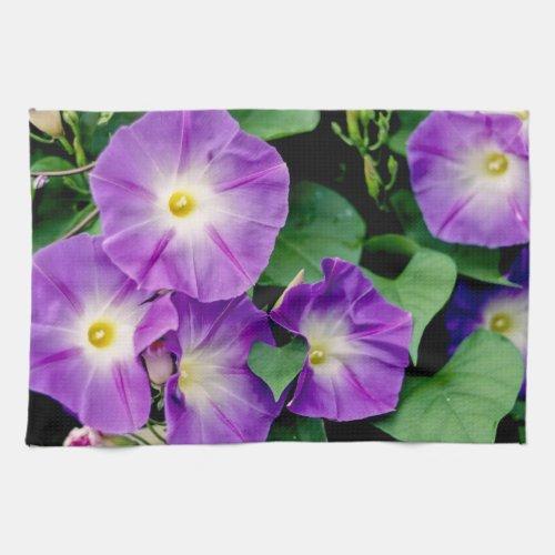 Morning Glory - Purple Flowers Green Leaves Towel
