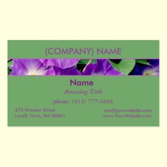Morning Glory, Purple Flowers Green Leaves Vine Double-Sided Standard Business Cards (Pack Of 100)