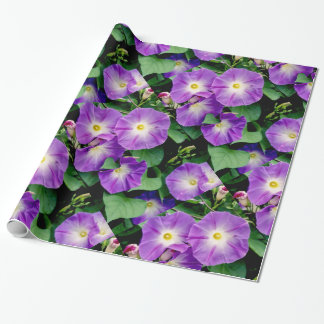 Morning Glory, Purple Flowers Green Leaves Gift Wrap Paper