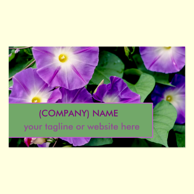 Morning Glory, Purple Trumpet Flowers Green Leaves Double-Sided Standard Business Cards (Pack Of 100)