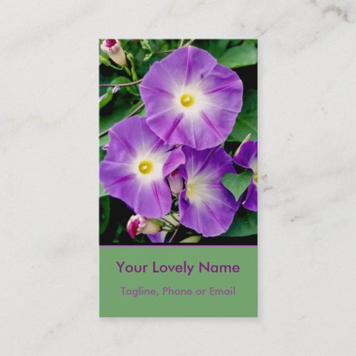 Morning Glory, Purple Violet Flowers Green Leaves Business Card