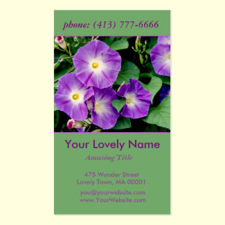 Morning Glory, Purple Violet Flowers Green Leaves Double-Sided Standard Business Cards (Pack Of 100)