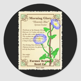 Morning Glory Seed Packet Classic Round Sticker