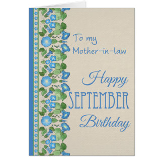 Morning Glory September Birthday: Mother-in-law Card