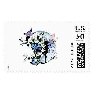 Morning Glory Shadow Fairy and Cosmic Cat Postage