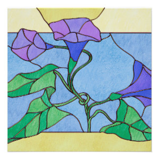 Morning Glory Stained Glass Look Custom Invite
