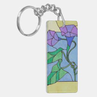 Morning Glory Stained Glass Look Double-Sided Rectangular Acrylic Keychain