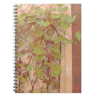 Morning Glory Trellis Orange Green Note Book