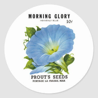 Morning Glory Vintage Seed Packet Classic Round Sticker
