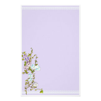 Morning Glory Watercolor Flowers Lilac Stationery