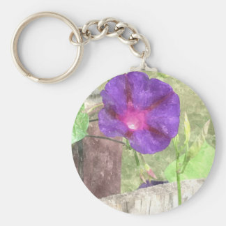 Morning Glory Watercolor Keychain