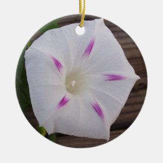 Morning Glory White Ceramic Ornament