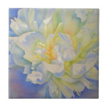 """Morning Glow Ceramic Tile<br><div class=""""desc"""">Romantic old fashion white peony watercolor painting with a glow of purple and yellow - by H Cooper</div>"""
