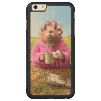 Morning Groundhog with Breakfast Donut and Coffee Carved Maple iPhone 6 Plus Bumper Case