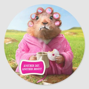 Coffee Themed Morning Groundhog with Breakfast Donut and Coffee Classic Round Sticker