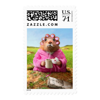 Morning Groundhog with Breakfast Donut and Coffee Postage