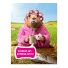 Morning Groundhog with Breakfast Donut and Coffee Postcard