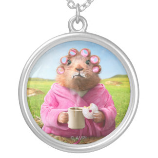 Morning Groundhog with Breakfast Donut and Coffee Silver Plated Necklace