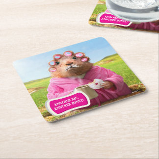 Morning Groundhog with Breakfast Donut and Coffee Square Paper Coaster