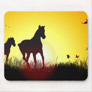 morning horses mouse pad