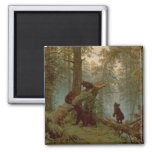 Morning in a Pine Forest, 1889 2 Inch Square Magnet