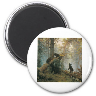 Morning in a Pine Forest 2 Inch Round Magnet