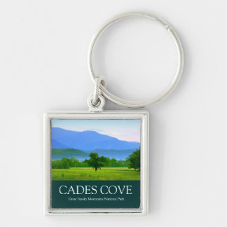 Morning in Cades Cove - Great Smoky Mountains Silver-Colored Square Keychain