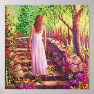 Morning In Her Garden Poster