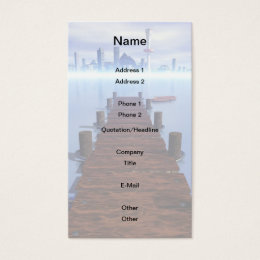 Morning Lake Long Pier Cityscape in Background Business Card