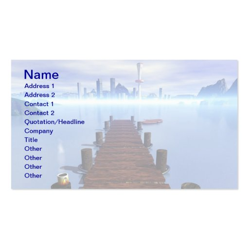 Morning Lake Long Pier Cityscape in Background Double-Sided Standard Business Cards (Pack Of 100)