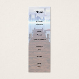 Morning Lake Long Pier Cityscape in Background Mini Business Card