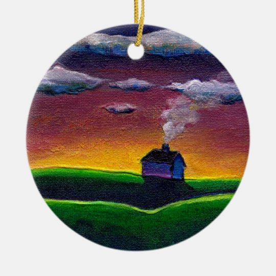 Morning landscape new year colorful original art ceramic ornament