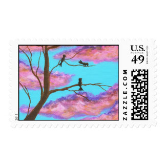 Morning Lessons Birdies In Tree Postage Stamps