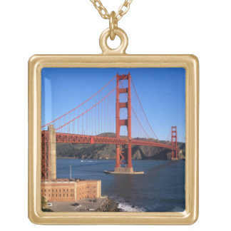 Morning light bathes the Golden Gate Bridge Gold Plated Necklace