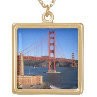 Morning light bathes the Golden Gate Bridge Square Pendant Necklace