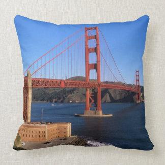 Morning light bathes the Golden Gate Bridge Throw Pillows