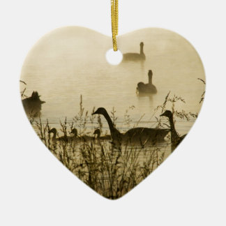 Morning Light Canadian Geese Pond Silhouette Ceramic Ornament