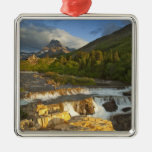 Morning light greets Swiftcurrent Falls in the Christmas Tree Ornament
