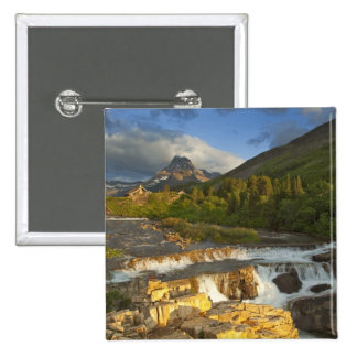Morning light greets Swiftcurrent Falls in the Pinback Button