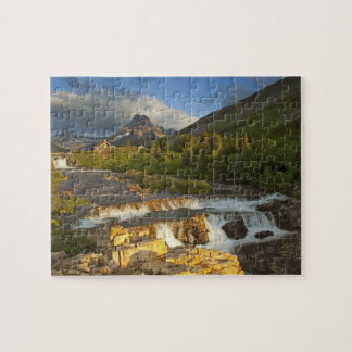 Morning light greets Swiftcurrent Falls in the Jigsaw Puzzles