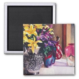 """""""Morning Light II"""" Art Glass & Flowers 2 Inch Square Magnet"""