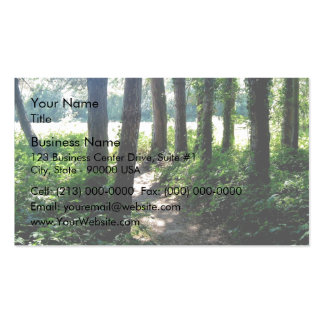 Morning light illuminates a woodland path Double-Sided standard business cards (Pack of 100)